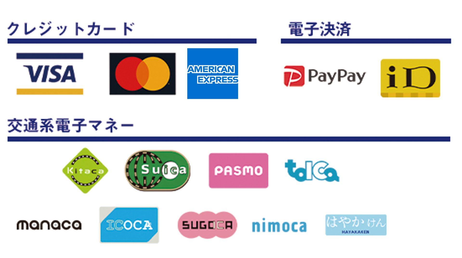 対応クレジットカード等お支払い方法